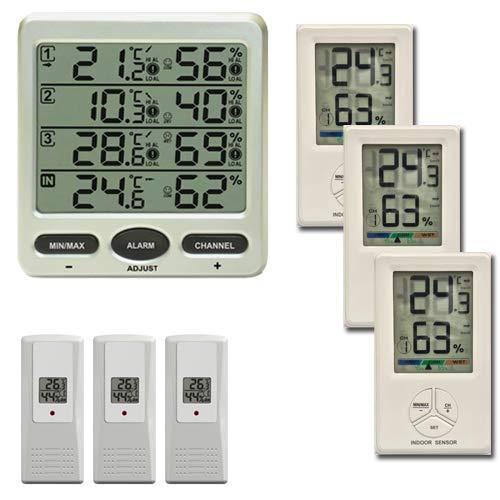 froggit FT0073 Funkthermometer mit 6 Funksensoren (3 x FT01 Sensoren + 3 x FT Comfort Sensoren) Luftfeuchte LCD Display Min/max