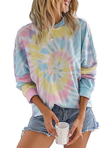 Famulily Damen Eleganter Batik Hoodie mit Tunnelzug Freizeit Neonfarben Sweatshirt L B: Blau
