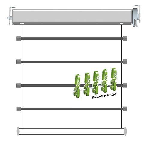 Kabra Tendedero Vertical Plegable de Ventana con Varillas de Aluminio Tender Up + 40 Pinzas Monoblock Irrompibles (Pack Bricolemar)