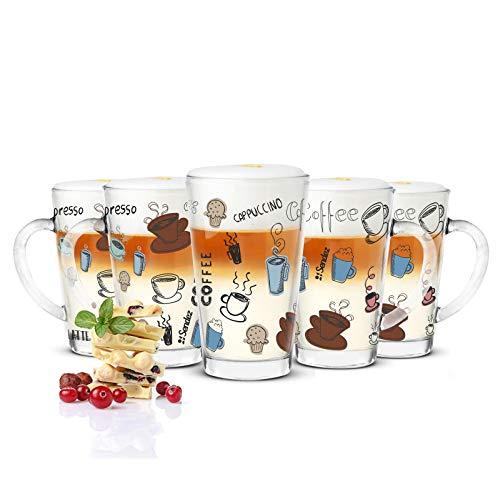 Sendez 6 Latte Macchiato Gläser 300ml Kaffeegläser Teeglas mit Buntem Kaffee-Aufdruck