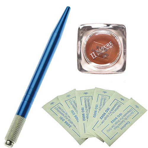 Kit permanent de microblading de sourcil de stylo de couleur bleue professionnelle avec 10 aiguilles de Microblading de PC et un pigment de microblading de bouteille (Café brun doré)