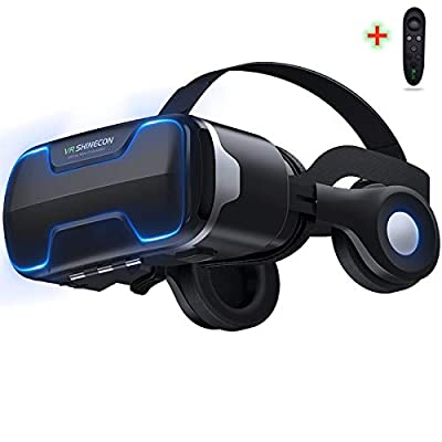 """VR Headset Compatible for iPhone and Android Phone,Upgrade VR Glasses With Blue Light Remote Headphones ,3D Virtual Reality Viewer for TV,Movies & Video Games, Support 4.7-6.0""""Large Screen Smartphone"""