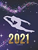 2021 Planner: Gymnastics Gymnast Purple Sparkle Theme - Daily Weekly Monthly / Dated 8.5x11 Life Organizer Notebook / 12 Month Calendar - Jan to Dec / ... Christmas or New Years Gift for Coach - Team