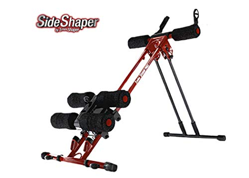 Side Shaper by 5 Mins Shaper Pro - Ab Carver Workout Equipment Portable Ab Machine Core Max Work Out Trainer Muscle Toning Device - Body Toner Exercise / Adjustable Workout Fitness Cruncher (Red)