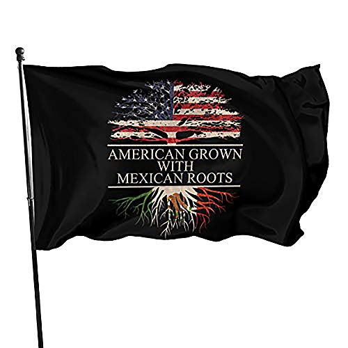 American Grown With Mexican Roots Flag 3x5 Foot Durable And Fade Resistant,Perfect For Any Balcony Or Courtyard, Garden Decorative Banner