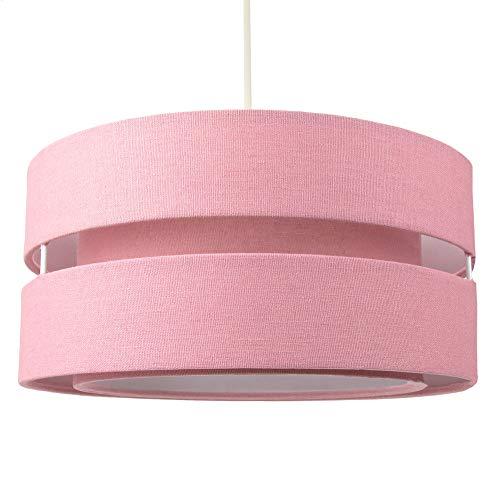 Paralume per lampada a sospensione a triplo livello in tessuto di lino rosa di qualità contemporanea:FBM