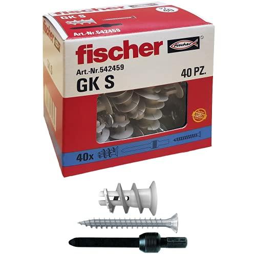 Fischer 542459 40 Tasselli GK con Vite specifici per Cartongesso, Include Accessorio di Montaggio,...