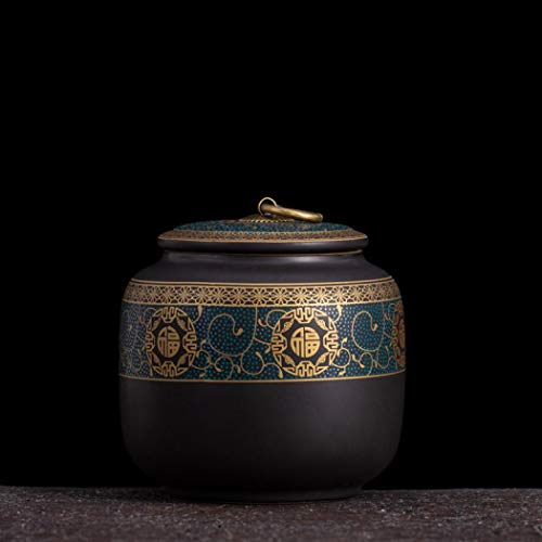 Keramik-Teedose im Vintage-Stil, chinesischer Stil, Vorratsdosen für Tee, edle Dosen, traditionelle Teedose, versiegelter Deckel, Heim-Küchendekoration (blau)