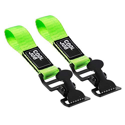 COOLJOB 2 Pcs Glove Holder Clip Grabber, Metal Work Safety Utility Clip Clamp Keeper with Adhesive Strap for Belt, Turnout Gear, Firefighter, Guard, Labor, High Visible Fluorescent Yellow, 2 Pieces