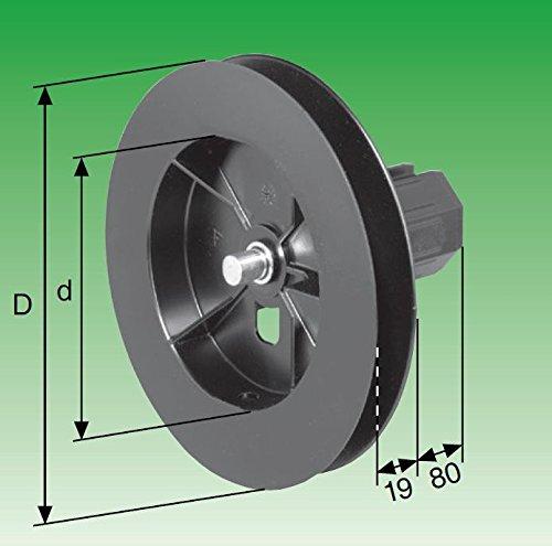 SELVE Mini-Gurtscheibe, kurz, SW 40 mit Walzenkapsel mit inneliegendem Stahl-Achsstift ø 10 mm Durchmesser (D=135 d=90)
