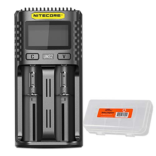 NITECORE UMS2 Intelligent USB Dual-Slot Quick Battery Charger for Li-Ion/Ni-MH/Ni-Cd/IMR 16340 14500 18650 21700 20700 AA AAA and More Batteries, with LumenTac Battery Organizer