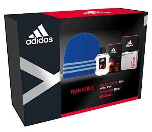 Adidas - Confezione Regalo Team Force: Profumo Uomo 50 ml, Dopobarba 100 ml e Cappellino Lana Blu