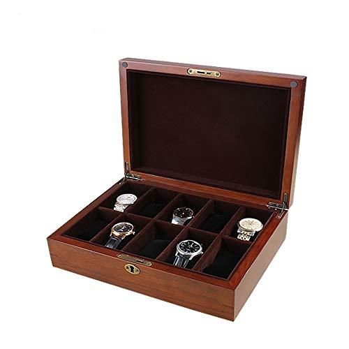 AXROAD MALL AXROAD MALL Multifunktions-Uhrenbox Schmuckschatulle 10 Gitter for Herren- und Damen-Aufbewahrungsboxen aus Eichenholz for Badezimmer