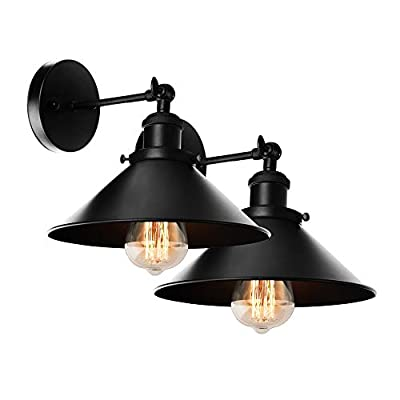 Black Wall Sconce Lamp 2-Pack, Arm Swing Wall Lights Wall Lamp,Hardwire E26 Base for Lobby, Hallway, Kitchen, Dining Room, Restaurant