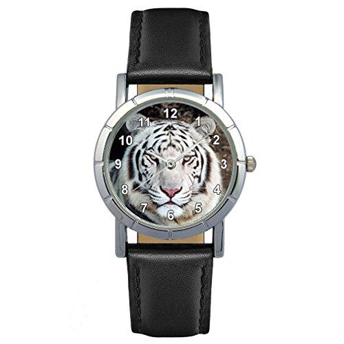 Timest - Tigre Blanco - Reloj para Mujer con Correa de Cuero Negro Analógico Cuarzo SA1449