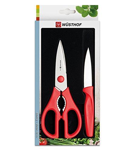 Wüsthof 2-teiliges Set (9354r), Küchenmesser und Küchenschere, Griffe rot, Universal- und Gemüsemesser