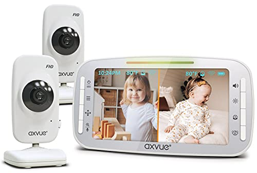[HD] Video Baby Monitor, 1080P 5.5  HD Display, IPS Screen, 2 HD Cams, 24-Hour Battery Life, 1000ft Range, 2-Way Communication, Secure Privacy Wireless Technology
