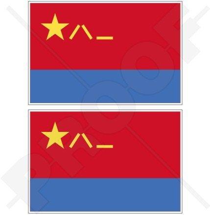 Chine chinois Azur plaaf Drapeau 10,2 cm (100 mm) en vinyle Bumper Stickers, Stickers x2
