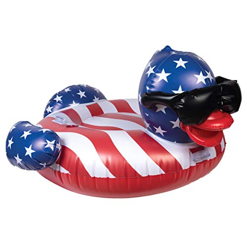 GAME 51418-BB Stars & Stripes Derby Duck Pool Float, Large, Multi