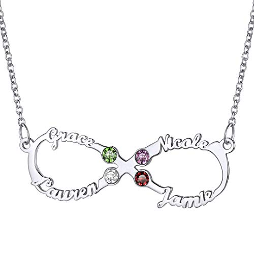 Personalized 4 Names Infinity Necklace for Women Custom Birthstone Pendant...