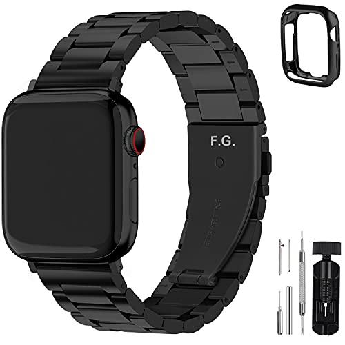 Fullmosa Cinturino per Apple Watch 42mm/44mm, Cinturino in Acciaio Inossidabile Compatibile con iWatch, Cinturini per Apple Watch Serie 6 5 4 3 2 1, Apple Watch SE, per Donna e Uomo, Nero