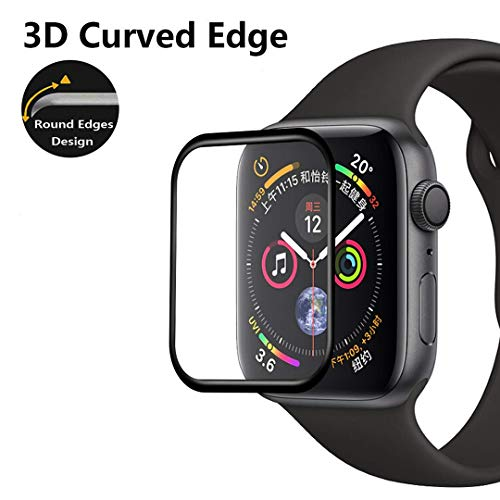 ZONEYILA Compatible with Apple Watch Series 4 Screen Protector[Full Screen Coverage]3D Curved Edge Tempered Glass with Ultra Clear Bubble Free for Apple Watch 40mm/44mm(Black Edge) (Black Edge, 44mm)