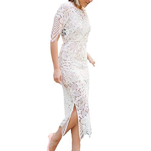Havecolor Kleid Damen Brautjungfernkleid Abendkleider Sommer Lange Retro Cocktail Sommer Kurzarm Rückenfrei Einfarbig Spitze Taille Mädchen Festlich Hochzeit Freizeit Party (M, Weiß)