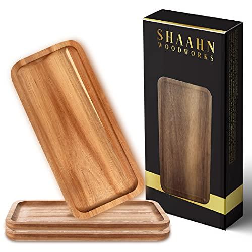 Wooden Platters for Food & Decor, Wooden Serving Board & Platter, Wood Serving Trays & Plates, 13' x 6' Wood Tray & Serving Platters, Acacia Wood Plate Set of 3 Food Platter