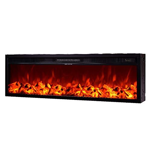 Art Flame, Chimenea eléctrica empotrada Tanzania, 1500 W, Calefacción de superficie 15...