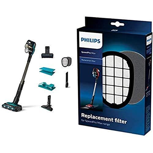 Philips XC8147/01 SpeedPro Max Aqua kabelloser Staubsauger mit Wischfunktion 8000 Series (Akkusauger, 360°-Saugdüse, 80 Min. Akkulaufzeit) türkis mit Ersatzfilter FC5005/01