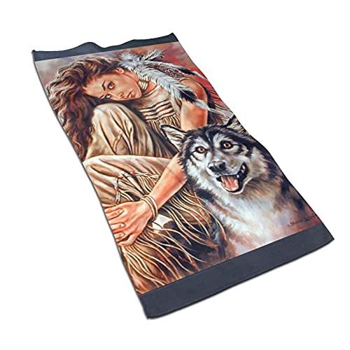Mujer y Lobo Toalla de baño de Microfibra Suave Toallas de Cocina para baño de Mano 27.5 X 17.5...