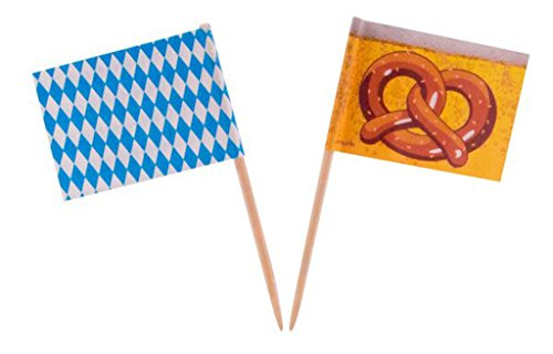 1 Beutel mit 50 Party -Holzpicker Motiv Bayrische Raute / Bretzel Oktoberfest