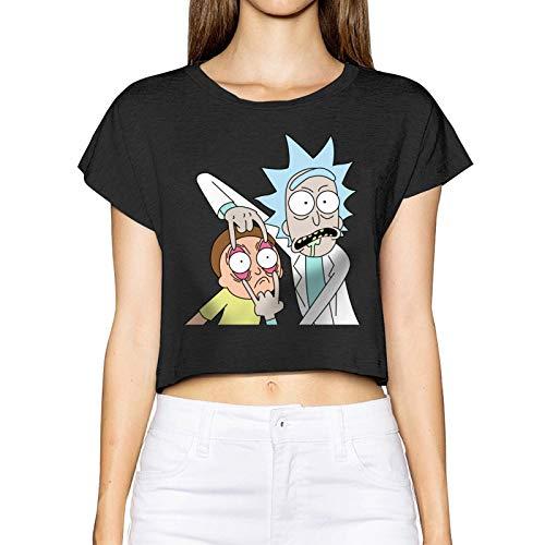GPerlaAlva Rick Morty Logo Damen Kurzarm-T-Shirt Tees Crop Top S Schwarz