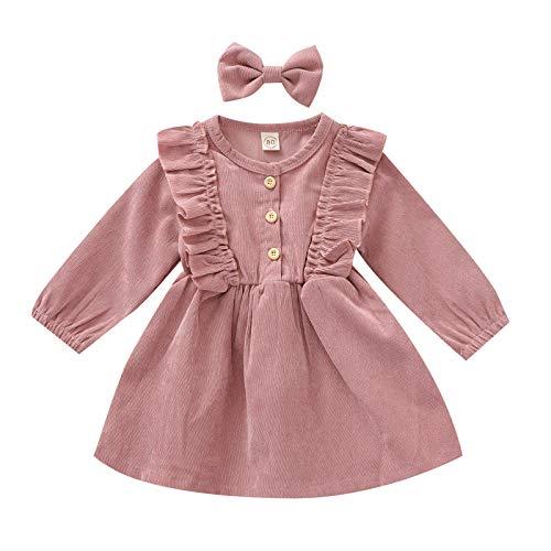 YQYJA Toddler Baby Girls Fall Winter Corduroy Ruffle Long Sleeve Dress Headband Kids Dresses (Pink, 3T)