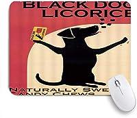 EILANNAマウスパッド 創造的な装飾を広告する黒い犬の甘草の自然な甘いキャンデーのかみ砕く ゲーミング オフィス最適 高級感 おしゃれ 防水 耐久性が良い 滑り止めゴム底 ゲーミングなど適用 用ノートブックコンピュータマウスマット