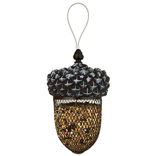 SA Products Acorn Bird Feeder - Outdoor Mounted Mixed Nuts Feeding Station for Wild Birds - Hanging Decoration or Ornament for Garden and Lawn - Heavy-Duty Squirrel-Proof Metal Mesh Nut or Seed Holder