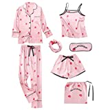 harayaa Conjunto de Pijamas de Satén para Mujer Camisa de Manga Larga Cami Top Shorts Ropa de Dormir con Cuerda para El Cabello - Navy L