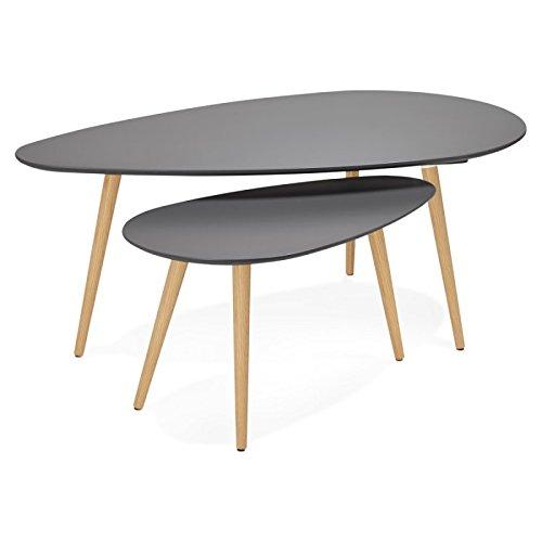 MK Tables Basses Design ovales gigognes Golda en Bois et chêne Massif (Gris foncé)