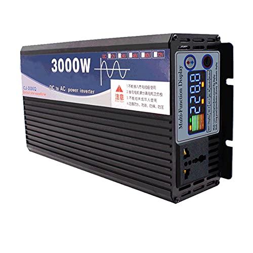 HAITOY Inversor De Corriente De Onda Sinusoidal Pura 3000W 12V DC A 220V AC Inversor De Coche con Pantalla LCD Y Enchufe Inversor De Coche con Ventilador De Refrigeración Adecuado para Camión RV