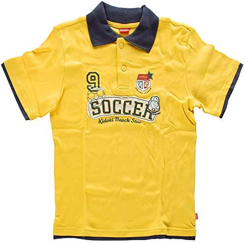 Kidoki Jungen Kurzarm Shirt Polokragen Poloshirt -Soccer Beach Star- Yellow 128/134