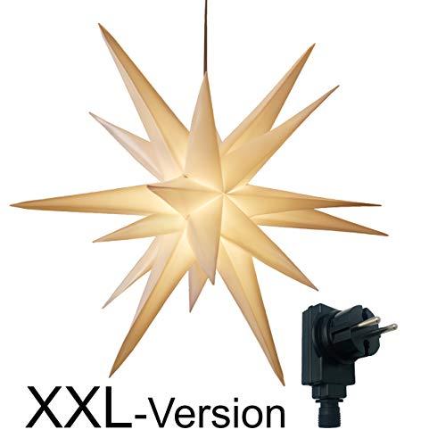 XXL Ø 100 cm 3D Leuchtstern inkl. warm-weißer LED Beleuchtung und Timer   für Innen und Außen geeignet (IP44)   hängend   7,5 m Zuleitung (weiß)