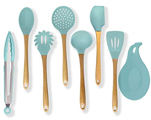 Premium Silicone Cooking Utensils Set, 8 Piece Turquoise Kitchen Utensil - 446°F Heat Resistant, Wooden Handles, Non Toxic Safe Cooking Tools for Non-stick Cookware, Modern Serving Gadgets (BPA Free)