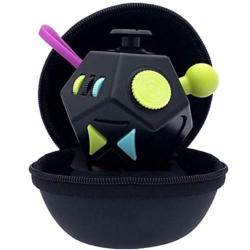 PILPOC theFube Fidget Cube Dodecagon 12 Sides - Premium Quality Fidget Cube Dice with Exclusive Carry Case, Durable, Relieve Stress and Anxiety, for ADD, ADHD, OCD (Black & Mix)
