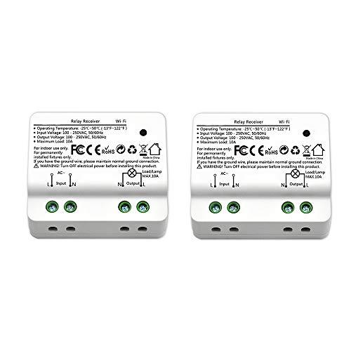Didikit 2er Pack WIFI Smart Schalter Empfänger 15 A, 3450 watt Lichtschalter Relais Modul Intelligente Handy Fernbedienung für Auf-/Unterputz funktioniert mit Google Home