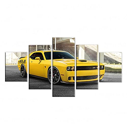 WWNMJ Painting On Canvas Print Pictures 5 Pieces Wall Art Painting Dodge Charger Sports Car Home Decorations Paintings Wall Decor Living Room Stretched and Framed Ready to Hang