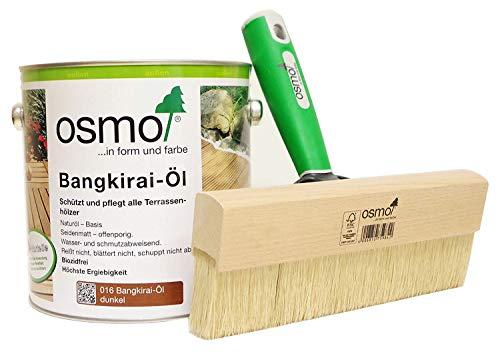 AB.Bauconcept GbR© Kombiangebot: Osmo Bangkirai-Öl Dunkel 016 2,5 Liter und Osmo Fußbodenstreichbürste 220 mm