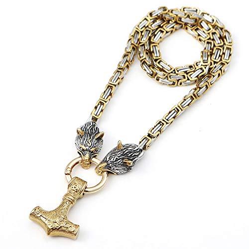 YANGFJcor Colgante de Martillo de Thor Dorado del Norte de Europa Retro, Collar de Oro Cuadrado de Acero Inoxidable con Cabeza de Lobo de Odin de niño Vikingo, Regalo del día del Padre para niña,55cm