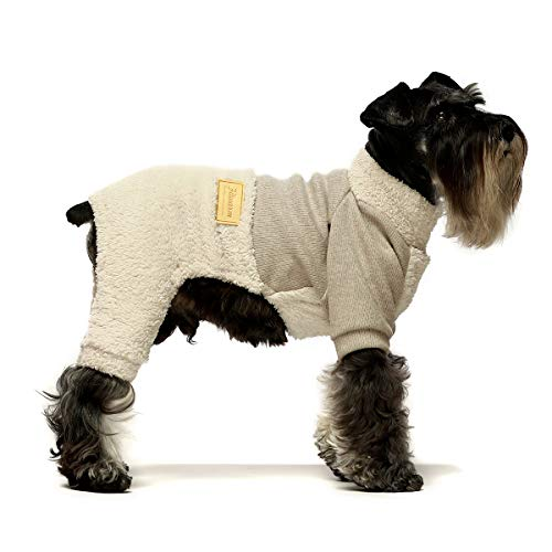 Fitwarm Turtleneck Knitted Dog Clothes Winter Outfits Pet Jumpsuits Cat Sweaters Beige XL