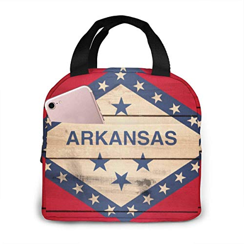 Arkansas State Flag Wood Texture Insulated Lunch Bags for Women&Men Lunch Portable Box for Lunch Cooler Tote for Work Scho