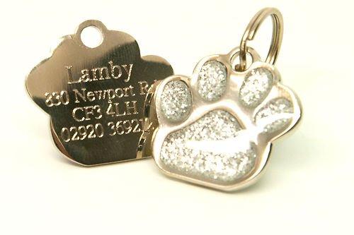 Medaglietta per animale domestico a forma di zampa glitterata, 27 mm, personalizzabile-